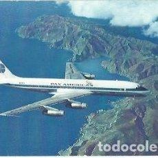 Postales: POSTAL A COLOR PAN AMERICAN DOUGLAS DC 8C JET CLIPPERS 1961. Lote 255404680