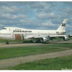 Postales: POSTAL AVIÓN S.A.S. (SCANDINAVIAN), BOEING 747-283M. IMPRESA EN SUECIA. FOTO T. LAJMAKER. NUEVA.. Lote 262824275