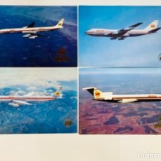 Postales: 4 POSTALES AVIONES IBERIA: BOEING 747 JET, BOEING 727/256, 2 DOUGLAS SUPER DC8. SIN CIRCULAR. '70S.. Lote 263952915