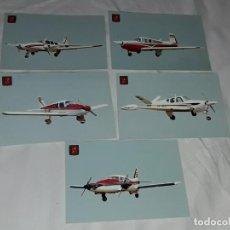 Postales: LOTE DE 5 POSTALES DE AVIONETAS DEPORTIVAS, REAL AERO CLUB SABADELL BARCELONA. Lote 264258376