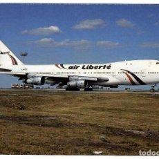 Postales: AIR LIBERTÉ (FRANCIA). AVIÓN BOEING 747-100 (LX-FCV), PARIS CDG. (VER DESCRIPCIÓN). Lote 269985143