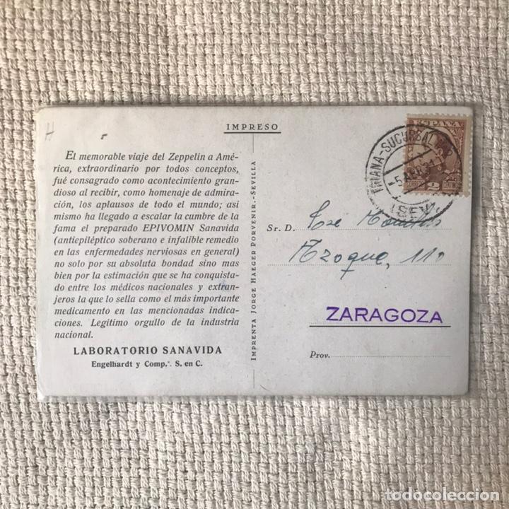 Postales: ANTIGUA POSTAL ZEPELÍN POR SEVILLA - LABORATORIO SANAVIDA - Foto 2 - 270622448