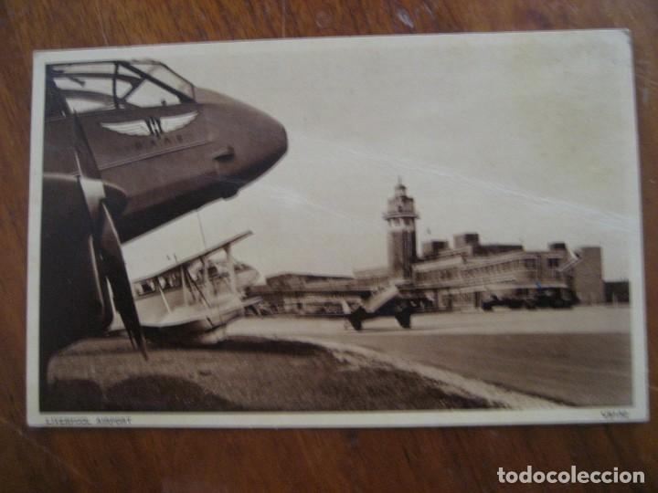 ANTIGUA POSTAL CAMPO AVIACION , AEROPUERTO DE LIVERPOOL . ED PHOTOCHROM (Postales - Postales Temáticas - Aeroplanos, Zeppelines y Globos)