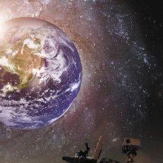 Postales: POSTCARD SPACE CURIOSITY ROVER MARS PLANET EARTH PLANET STAR PHOTO COLLAGE NEW - IRINA DMITRIENKO. Lote 278753358