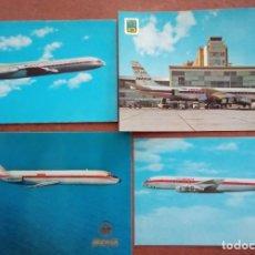 Postales: 4 POSTALES IBERIA AVIONES CARAVELLE, DOUGLAS, AEROPUERTO. Lote 286239998