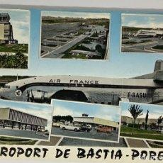 Postales: CORSE, CÓRCEGA AEROPORT DE BASTIA PORETTA. CAUJOLLE. AEROPUERTO 1968.. Lote 286569103