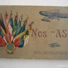 """Postales: NOS """"AS"""", NUESTROS ASES, 20 POSTALES PIONEROS DE LA AVIACION FRANCESA Y 1º GUERRA MUNDIAL. Lote 295810938"""