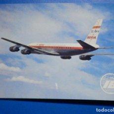 Postales: POSTAL AVIONES IBERIA - LINEAS AEREAS DE ESPAÑA - JET DOUGLAS DC-8 TURBOFAN - ED. RUAN - NUEVA 1968. Lote 296916328