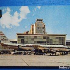 Postales: POSTAL AVIONES - MADRID AEROPUERTO DE BARAJAS - DOUGLAS DC-8 JET - IBERIA - ED. FISA - NUEVA. Lote 297089778