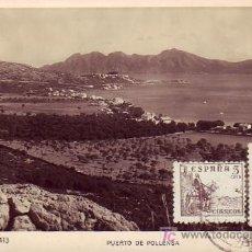 Postales: TARJETA PUERTO POLLENSA, CIRCULADA 25.06.47 DE PALMA DE MALLORCA(BALEARES) A RIO DE JANEIRO (BRASIL). Lote 14120536
