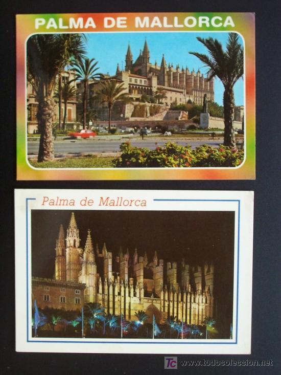 LOTE DOS POSTALES DE LA CATEDRAL DE PALMA SIN CIRCULAR DE EDICIONES PALMA AÑOS 1988 Y 1989 (Postales - España - Baleares Moderna (desde 1.940))