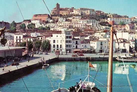 IBIZA. ENTRANDO CON EL BUQUE CORREO. CIRCULADA (Postales - España - Baleares Moderna (desde 1.940))