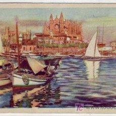 Postales: LLOVERAS CLUB DE REGATAS, CIRCULADA FRANQUEO LA CIERVA DE PALMA DE MALLORCA (BALEARES) A BARCELONA. . Lote 14106082