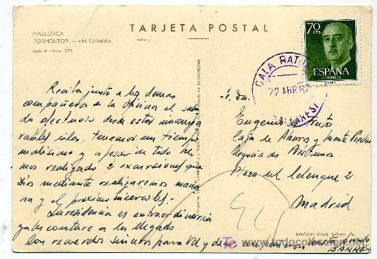 Postales: MALLORCA - FORMENTOR ES COLOMÉ- FRANQUEADA Y ESCRITA 1962 (VER FOTO) - Foto 2 - 26518428