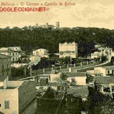 Postales: PALMA DE MALLORCA, EL TERRENO Y CASTILLO DE BELLVER. Lote 25186780