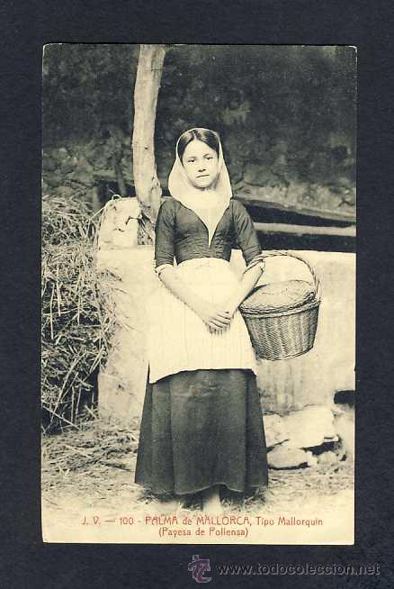 POSTAL DE PALMA DE MALLORCA (ILLES BALEARS): TIPUS MALLORQUI, PAGESA DE POLLENÇA (JV N.100)(ANIMADA) (Postales - España - Baleares Antigua (hasta 1939))