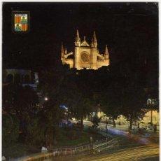 Postales: BONITA POSTAL - PALMA DE MALLORCA - CATEDRAL Y PLAZA DE LA REINA - VISTA NOCTURNA . Lote 14685503