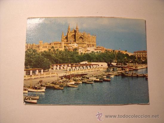 POSTAL DE PALMA DE MALLORCA. CATEDRAL Y DETALLE DEL PUERTO. SIN CIRCULAR. P-1532 (Postales - España - Baleares Moderna (desde 1.940))