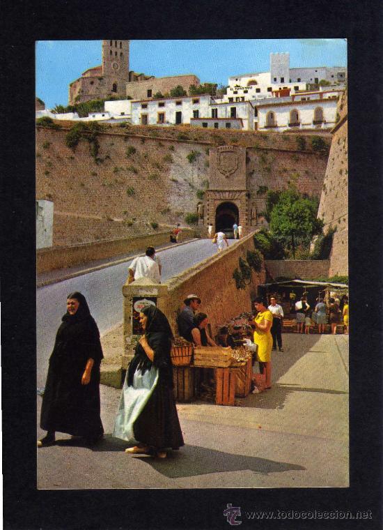 POSTAL - IBIZA - CIUDAD MURALLAS Y CATEDRAL - EXCLUSIVAS CASA FIGUERETAS - SIN CIRCULAR. (Postales - España - Baleares Moderna (desde 1.940))