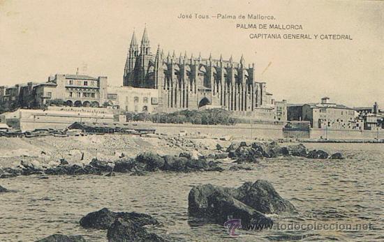 TARJETA POSTAL ESPAÑA MODERNA 1.940, PALMA DE MALLORCA, CAPITANÍA GENERAL Y CATEDRAL (Postales - España - Baleares Moderna (desde 1.940))