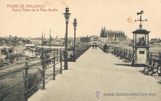 TARJETA POSTAL ESPAÑA MODERNA 1.940, PALMA DE MALLORCA, NUEVO PASEO DE LA RIBA, MUELLE (Postales - España - Baleares Moderna (desde 1.940))