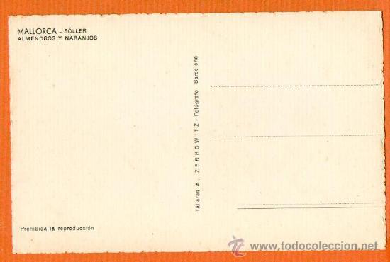 Postales: MALLORCA - SOLLER - ALMENDROS Y NARANJOS - ZERKOWITZ SIN CIRCULAR ESCASA - Foto 2 - 25770439