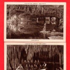 Postales: DOS POSTALES DE MALLORCA DE CUEVAS DEL DRACH . Lote 27487814