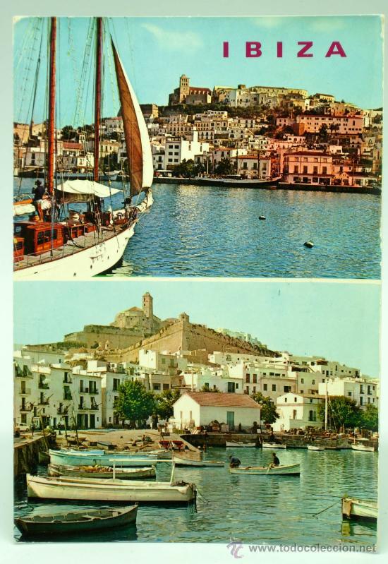 POSTAL IBIZA SAN ANTONIO 2 VISTAS PUERTO EXCLUSIVAS CASA FIGUERETAS AÑOS 60 CIRCULADA 1969 (Postales - España - Baleares Moderna (desde 1.940))