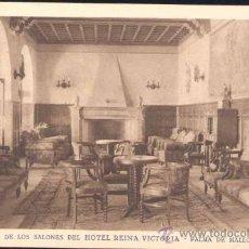 Postales: PALMA DE MALLORCA (BALEARES).- UNO DE LOS SALONES DEL HOTEL REINA VICTORIA. Lote 27756369