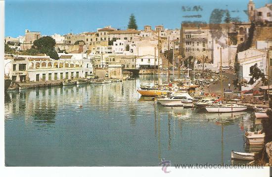 POSTAL, MENORCA, CIUDADELA, PUERTO, CIRCULADA CON SELLO (Postales - España - Baleares Moderna (desde 1.940))