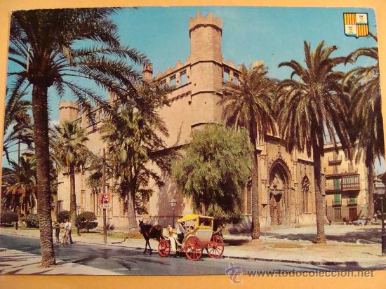 POSTAL DE PALMA MALLORCA, ISLAS BALEARES. AÑOS 50. LONJA, COCHE CABALLOS. 310. (Postales - España - Baleares Moderna (desde 1.940))