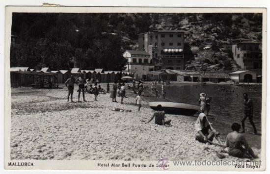 POSTAL DE SOLLER (MALLORCA) - HOTEL MAR BELL Y PUERTO - AMBIENTADA - FOTO TRUYOL (Postales - España - Baleares Moderna (desde 1.940))