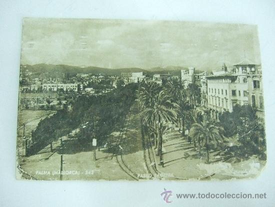 POSTAL PALMA DE MALLORCA - PASEO SAGRERA - ESCRITA Y CIRCULADA SIN SELLO - FECHADA 1956 (Postales - España - Baleares Moderna (desde 1.940))