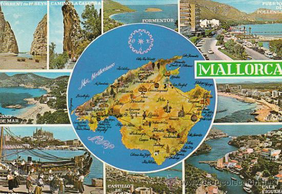 mallorca, mapa turistico y vistas, editor: palm   Comprar Postales