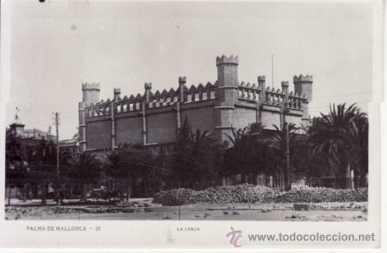 POSTAL FOTOGRÁFICA HISTÓRICA. COCHE DE CABALLOS. POSTES TELEFONICOS LONJA. PALMA DE MALLORCA. ESPAÑA (Postales - España - Baleares Moderna (desde 1.940))