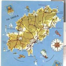 Postales: IBIZA, MAPA DE LA ISLA. Lote 34964735