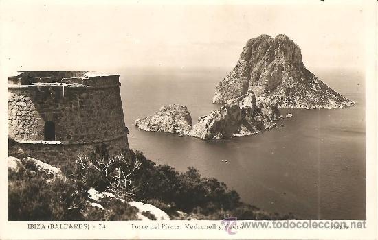 IBIZA (BALEARES) Nº 74 - TORRE DEL PIRATA. VEDRANELL Y VEDRÁ - VIÑETS - MANUSCRITA SIN CIRCULAR (Postales - España - Baleares Moderna (desde 1.940))