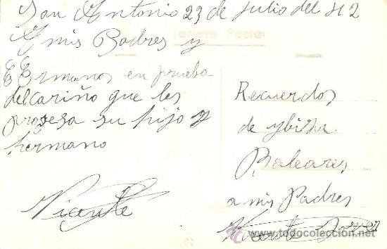 Postales: IBIZA (BALEARES) Nº 5 - VISTA GENERAL DE S. ANTONIO ABAD - VIÑETS - MANUSCRITA SIN CIRCULAR - Foto 2 - 34937062