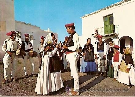 POSTAL A COLOR 1380 SAN MIGUEL IBIZA DANZA TIPICA EXCLUSIVAS CASA FIGUERETAS (Postales - España - Baleares Moderna (desde 1.940))