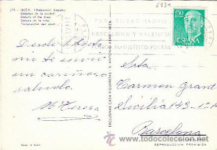 Postales: Ibiza, detalles de la ciudad, editor: Figueretas nº 275, circulada ver dorso - Foto 2 - 38054039