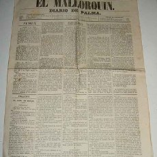 Postales: ANTIGUO Y EXCEPCIONAL PERIODICO EL MALLORQUIN DE 1860 . NUM. 116 DE 24 DE ABRIL - EL MALLORQUIN, DIA. Lote 39543796