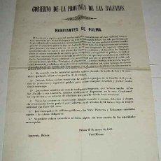 Postales: ANTIGUO ORIGINAL Y EXCEPCIONAL CARTEL DE 15 DE MAYO DE 1851 DEL GOBIERNO DE LA PROVINCIA DE LAS BALE. Lote 39543797