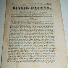 Postales: ANTIGUO ORIGINAL Y EXCEPCIONAL PERIODICO DE 1833 - DIARIO BALEAR NUM . 61 DE 2 DE MARZO DE 1833 - CO. Lote 39543798