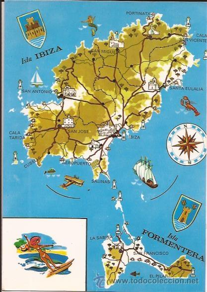IBIZA - Nº 217. MAPA DE IBIZA Y FORMENTERA - EXCLUSIVAS CASA FIGUERETAS - SIN CIRCULAR (Postales - España - Baleares Moderna (desde 1.940))