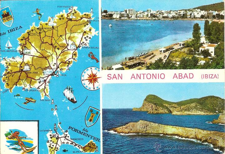 IBIZA, SAN ANTONIO ABAD, VARIAS VISTAS - EXCLUSIVAS CASA FIGUERETAS Nº 314 - CIRCULADA (Postales - España - Baleares Moderna (desde 1.940))