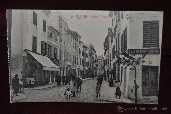 ANTIGUA POSTAL DE MAHON. MENORCA. CALLE ARRAVALETA. ED. BTUDURI. SIN CIRCULAR (Postales - España - Baleares Antigua (hasta 1939))