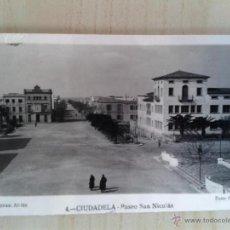 Postales: ANTIGUA POSTAL MENORCA. CIUDADELA. PASEO SAN NICOLÁS. ESCRITA. . Lote 42208385