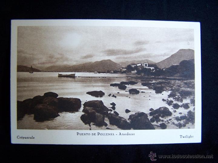 POSTAL SIN CIRCULAR PUERTO POLLENSA ATARDECER CRÉPUSCULE TWILIGHT COLECCIÓN BESTARD 14 X 9 CM (Postales - España - Baleares Antigua (hasta 1939))