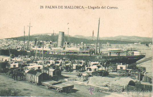 MUY BUENA POSTAL DE MALLORCA - PALMA - LLEGADA DEL CORREO -BARCO - Nº 28 (Postales - España - Baleares Moderna (desde 1.940))