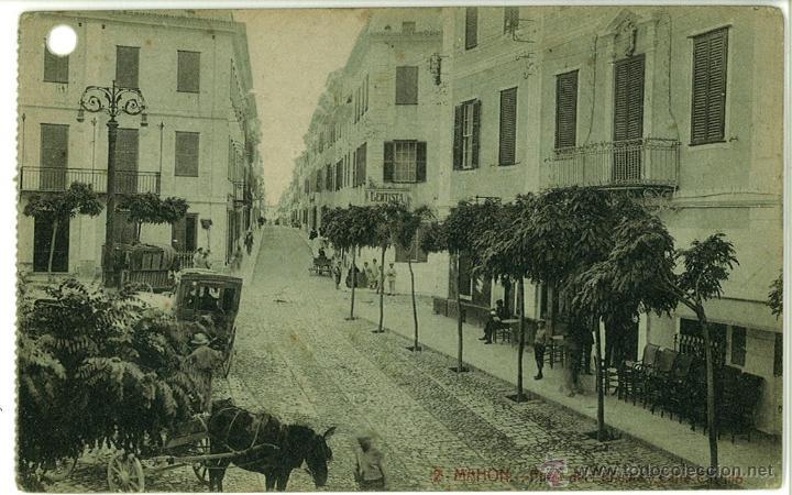 POSTAL MAHON (MAO) PLAZA DEL PRINCIPE Y CALLE CASTILLO SIN CIRCULAR EDITORIAL BTUDURI (Postales - España - Baleares Antigua (hasta 1939))